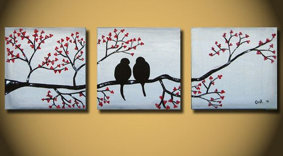 HUGE Love Birds Painting, Large Abstract original art, tree with red flowers,