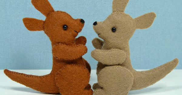 kangaroo puppet template - tiny handmade wool felt kangaroos crafty stuff