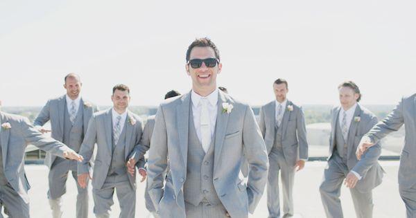 Wedding tie - gray suit groomsmen | Our Labor of Love #wedding