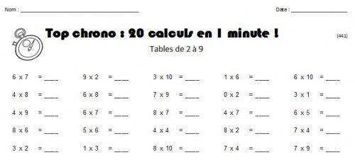 D fi tables de multiplication ce1 math pinterest for Evaluation cm1 tables de multiplication