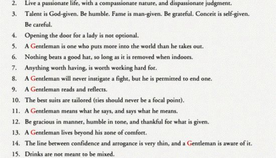 The Rules of a Gentleman...