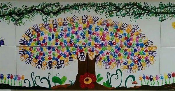 The Trees Of Lives Handprint Mural By Parents Teachers