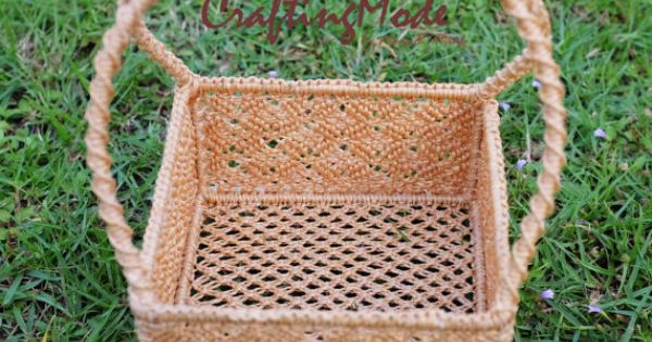 Handmade Nylon Basket : Small sz macrame basket rope nylon handmade natural