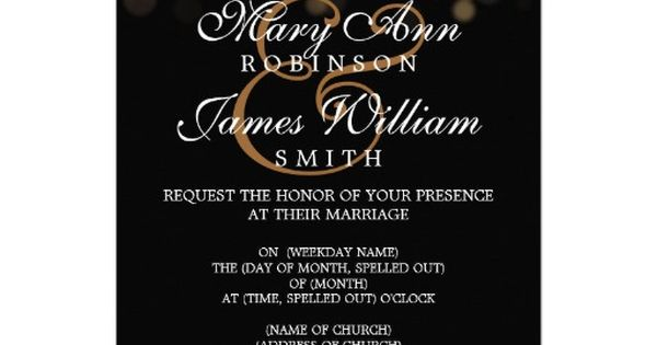 Elegant Wedding Gold Lights Custom Invitation wedding invitations
