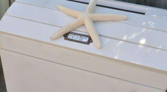 Personalized Beach Wedding Card Box Seashell Trunk Beach Wedding – Beach Wedding Card Boxes