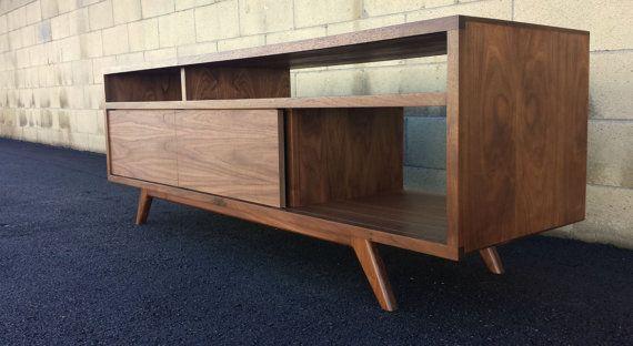 Mid Century Modern Walnut Tv Stand Cabinet Handmade Media Etsy