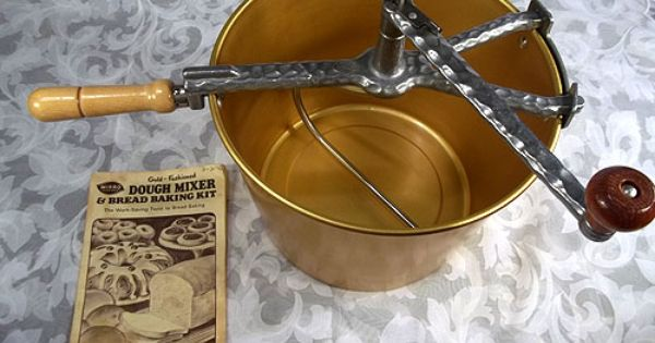 Sold Vintage Mirro Gold Fashioned Aluminum Dough Mixer
