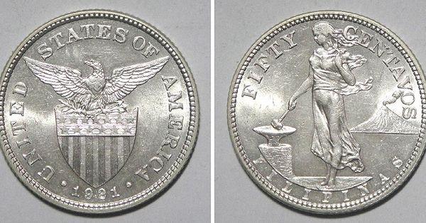 Philippines 1921 Silver 50 Centavos Coin Interesting