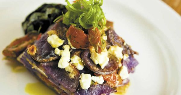 Grilled Veg and Purple Potato Gratin with Wilted Kale Recipe by Chef ...