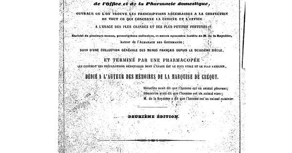 Dictionnaire g n ral de la cuisine fran aise ancienne et moderne ainsi que de loffice et de la - Dictionnaire cuisine francais ...