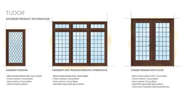 Tudor home style exterior window door details ucc for Windows for residential homes