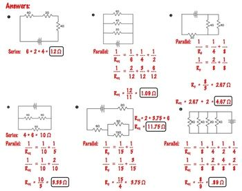 Physics Equivalent Resistance Practice 1 Page Worksheet Series And Parallel Circuits Physics Physics And Mathematics