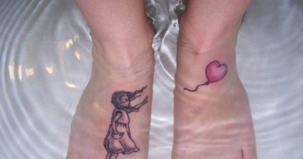 LITTLE GIRL AND HEART BALLOON! FEET TATTOOS!!