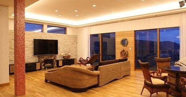 個性豊かな南国リゾート風住宅 リビングと間接照明 重量木骨の家 選ば