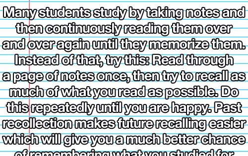 Did you know? Recalling study material mentally cements it better than recognition
