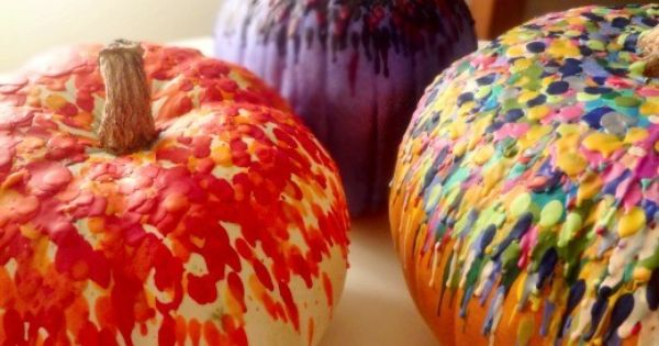 Melted Crayon Pumpkins What a great way to decorate pumpkins for fall