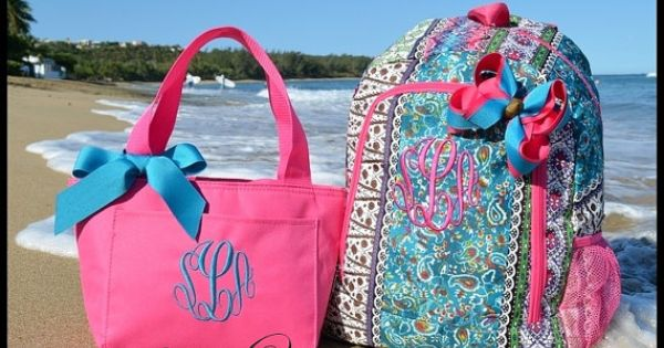 monogrammed bohemian spirit personalized school backpack  lunchbox and hair bow