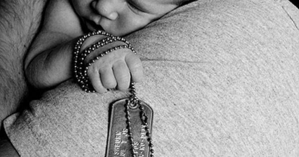 Military newborn photo idea with dog tags