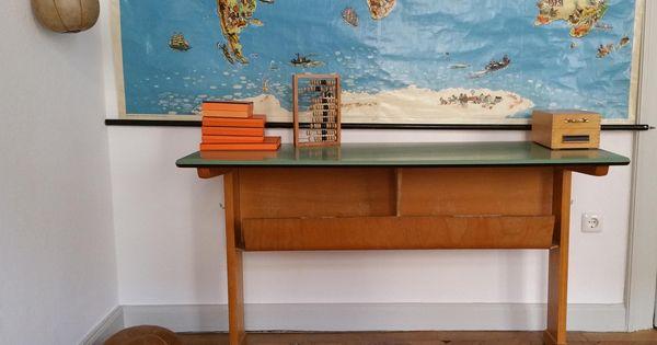 Vintage Schultisch Von Casala Kinderzimmer Konsole Tisch Grun Kuchentisch Schreibtisch Computertisch Von Designartgalleryshop Auf Et Home Decor Decor Furniture