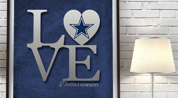 Dallas Cowboys Quot Love Quot Art Print Sports Wall Decor Man