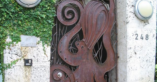 Miami Art Deco gate with octopus sculpture, by BEV Norton This is