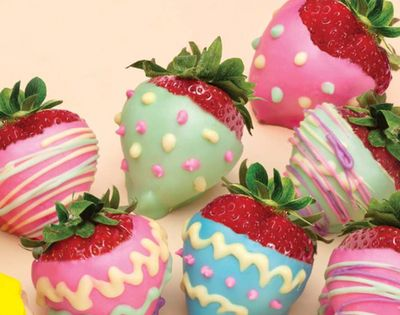 Chocolate covered strawberries for Easter! Add pastel coloured food colouring to Divine's White Chocolate and then decorate the dipped strawberries. Get some fruit with your chocolate for Easter!