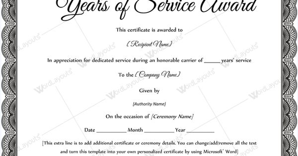 Sample Of Years Of Service Award #awardcertificate #certificate ...