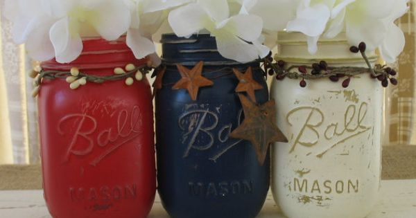 Patriotic Red, White, and Blue Mason Jars