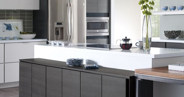 Best Contemporary White And Grey Thermofoil Slab Doors 640 x 480