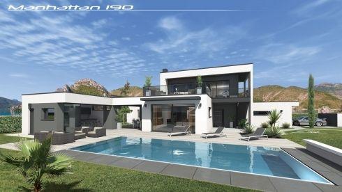 Vues Exterieures Villa Contemporaine Villa Design Contemp Toit Terrasse Maison Maison Contemporaine Maison Architecte Moderne Architecture Maison Moderne