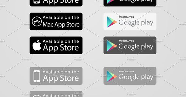 App Store Google Play Buttons X2