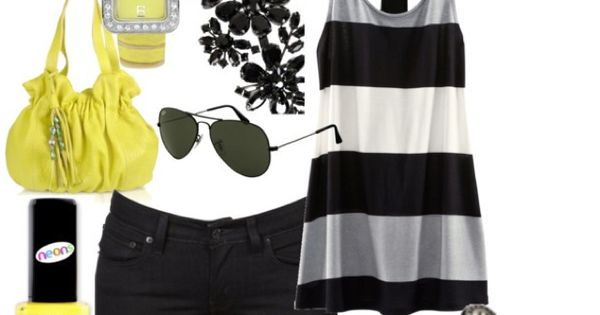 Yellow accessories with black and white summer clothes. Simple but doable. I