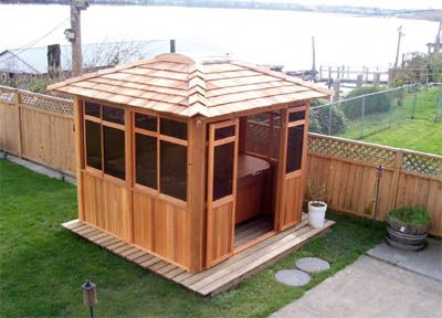 my arthritis would love this spa gazebos hot tub enclosures gazebos - Spa Patio Ideas