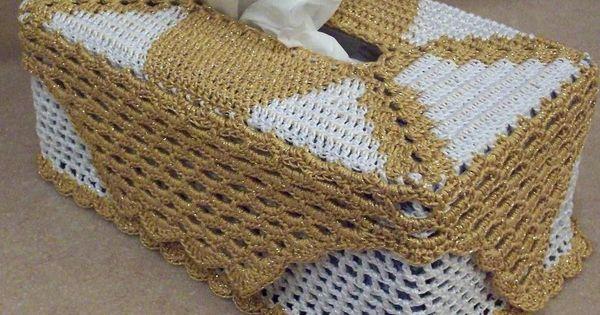 Crochet kleenex crocheted tissue box cover pattern for Decoracion hogar a crochet