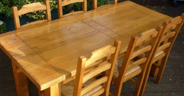 ANTIX SOLID FRENCH OAK DINING TABLE & 6 CHAIRS  eBay