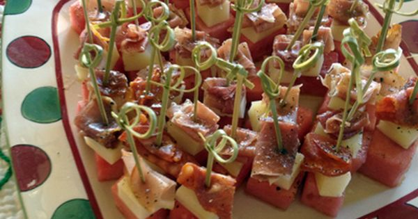 Watermelon paired with salty prosciutto or serrano ham and ...