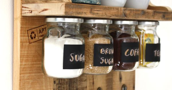 gorgeous spices or coffee shelf with hanging jars which have chalkboard labels and hooks to hang. Black Bedroom Furniture Sets. Home Design Ideas