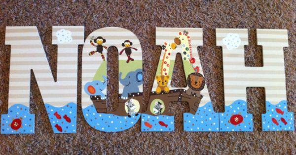 Noah S Ark Wooden Letters Baby Nursery Pinterest