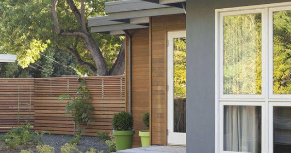 Gray Wood Siding White Window Trim Modern Exterior Midcentury Modern Remodel Design Pictures