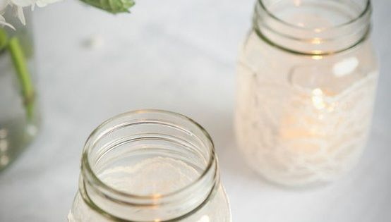 DIY: Lace mason jar candles MasonJar DIY Vintage Lace
