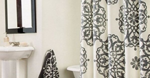 Tahari Luxury Cotton Shower Curtain Aqua Blue White Paisley Medallion Off White Charcoal Gray