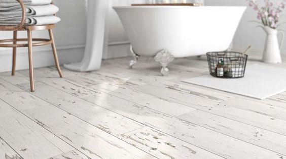 10 Waterproof Vinyl Flooring With A Whitewashed Shabby Chic Look Digsdigs Shabby Chic Bathroom Vinyl Flooring Shabby Chic Kitchen