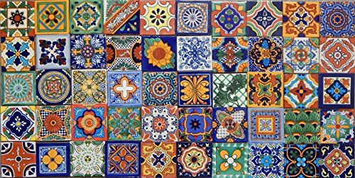 MEXICAN TILES CERAMIC HAND MADE SPANISH INFLUENCE TALAVERA MOSAIC ART C#085