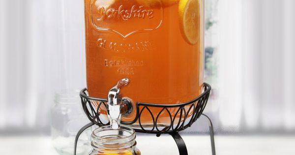 Georgia Peach Mason Jar Beverage Dispenser w Stand Tea Pitchers Coolers Water