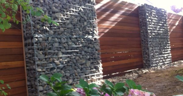 Landscape Timbers Portland Or : Timber and gabion fence in portland oregon using rows of wide