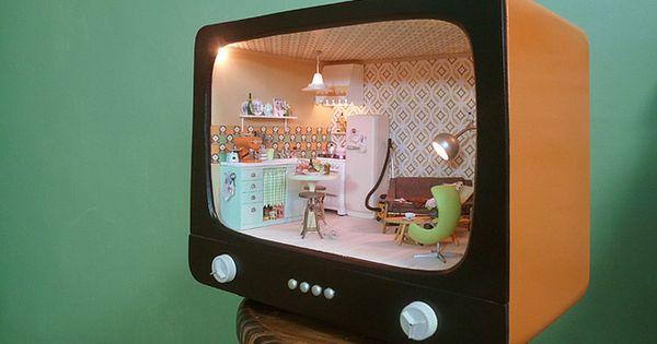 Doll house inside a tv set shell