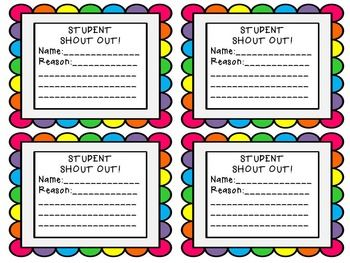 Student Shout Out Template Middle School Math Classroom Star Students Student Encouragement