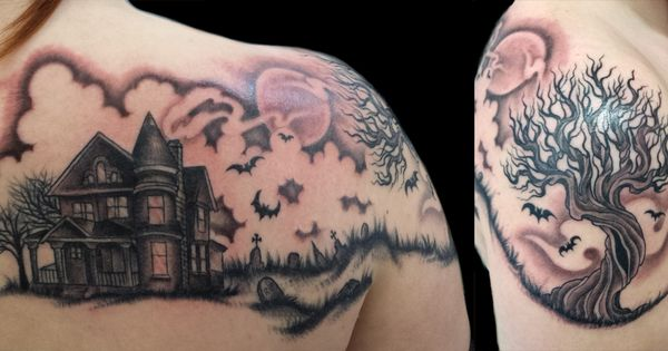 Pin By Jens Meurer On Tattoo: Haunted House Themed Tattoo With Graveyard, Ravens, And A