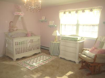 Pink And White Baby Nursery Decorated