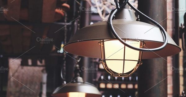 Classic hanging light bulb in cafe